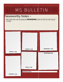 weekly bulletin template middle school weekly bulletin template by adrienne f tpt