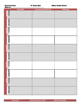 Middle School Weekly Lesson Plan Template