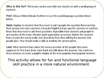 Winter Break Social Skills Middle and High School Part 1