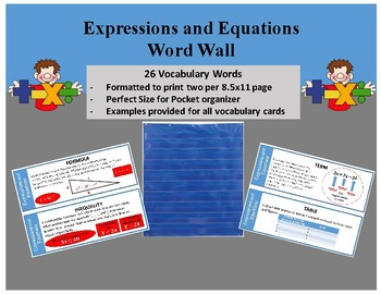 Middle School Word Wall- Expressions and Equations
