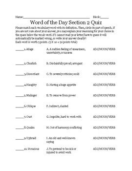 Middle School Word of the Day & 10 assessments