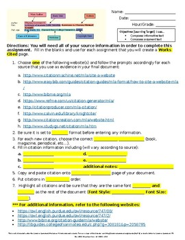 Middle School ELA Works Cited Guided Notes