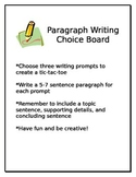 Middle School Writing Choice Board