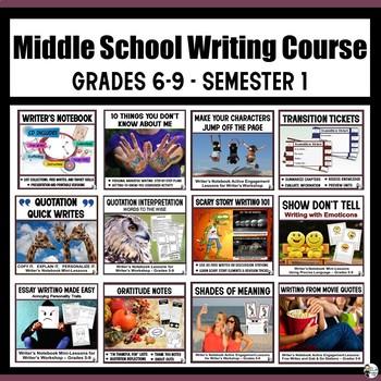 Middle School Writing Course (Grades 6-9) Semester 1 Bundle #SSTPT