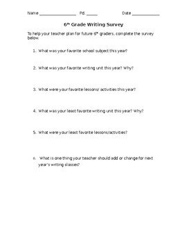 Middle School Writing Survey (editable)