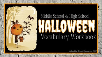 Middle School and High School Halloween Vocabulary Workbook Activity