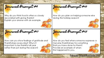 Middle School and High School Thanksgiving Journal Prompts