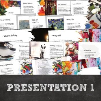 Oil Painting Unit: 2 Lessons, 3 Paintings, PowerPoints, Critique, Poster, & More