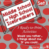 Middle School or High School Ice Breakers