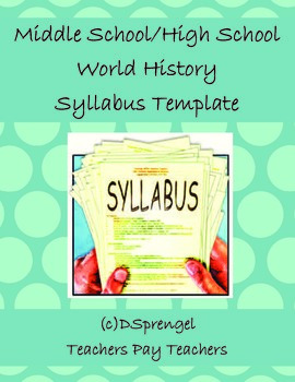 Middle School/High School Social Studies World History Syllabus Template in Word