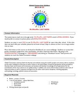 Middle School/High School Social Studies World History Syllabus Template in Word