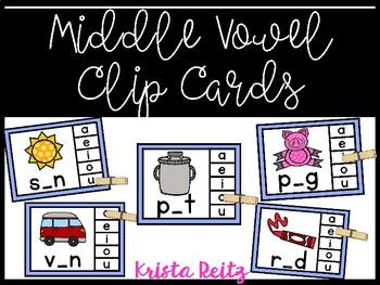 Middle Sound Clip Cards {Vowels}