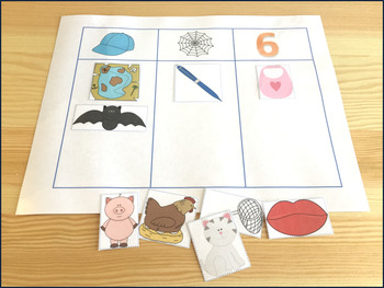 Middle Sound Picture Sort - Phonemic Awareness