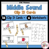 Middle Sounds Clip It Task Cards and Worksheets