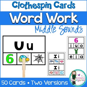 Middle Sounds Clothespin Game. Word Work or Guided Reading