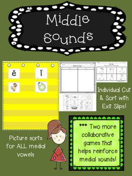 Middle Sounds (Medial Sounds with CVC words) - COLOR & BW