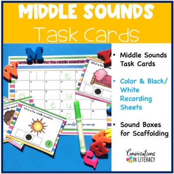 Middle Sounds Task Cards with Sound Boxes