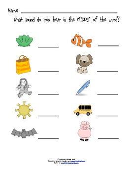 Language Arts: Phonics - Middle Sounds Worksheets
