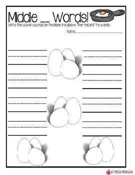 Middle Vowel CVC Words Scrambled Eggs Center