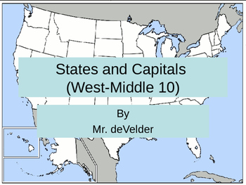 Middle West 10 States and Capitals