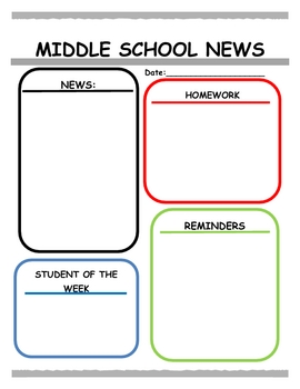 Middle Years Newsletter Template