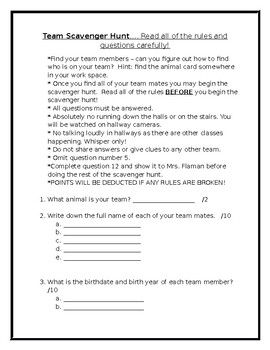 Middle Years Scavenger Hunt
