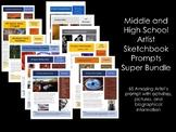 Middle and High School Art Sketchbook Prompts-Super Bundle