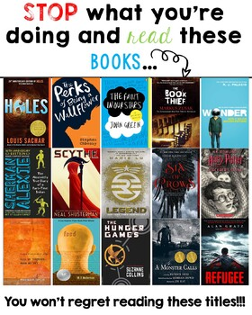 Middle And High School Book Suggestion Posters By Tiny But Mighty