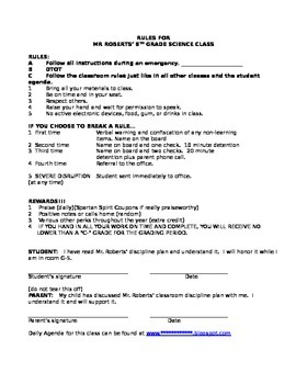 Middle and High School Classroom Rules Handout Template