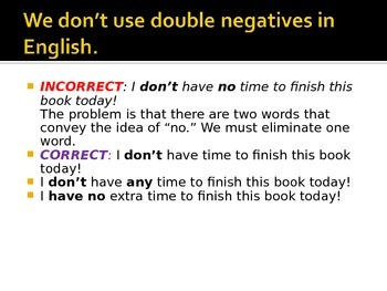 Middle and High School ESL - Avoiding Double Negatives