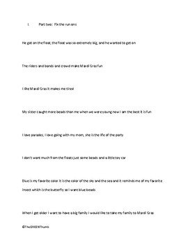 Middle and High School Sentence Combining and Run On Practice Lesson / Worksheet
