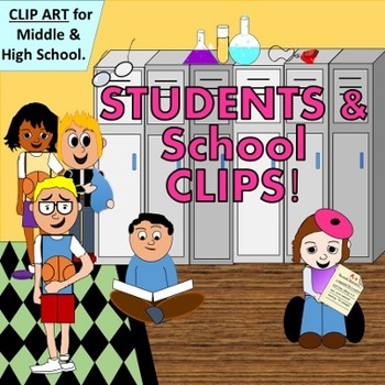 Middle and High School Students with Props - CLIP ART for Upper SELLERS