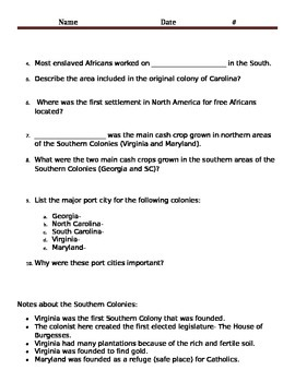 Middle and Southern Colonies Questions