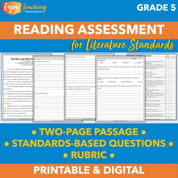 Middle of Year Common Core Reading Assessment for Grade 5