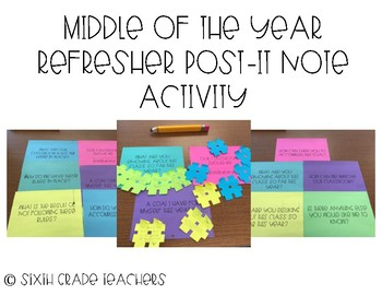 Middle of the Year Refresher Post-It Note Activity