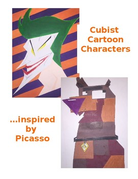 Middle Or High School Art Project Cubist Cartoon Character Drawing