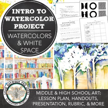 Watercolors and White Space Painting Project for 8th Grade or High School Art