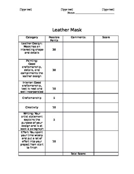 Middle or High School Art Project: Leather Mask Making Rubric and Teaching Tools