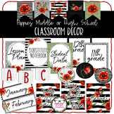 Middle or High School Classroom Decor - Red and Black Poppies Theme