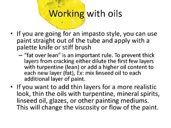 Middle or High School Visual Arts: Oil Painting PowerPoint Lesson