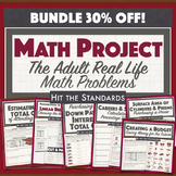 Middle School Math Project: The Adult Real-Life Math Problems PBL STEM BUNDLE