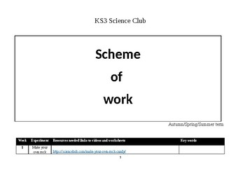 Middle school Science Club Scheme of Work