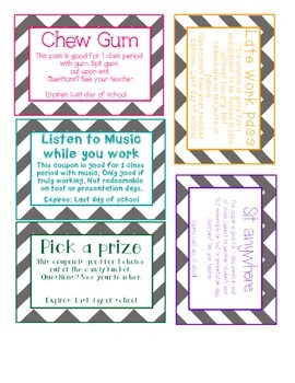 Middle school and high school reward coupon - Chevron