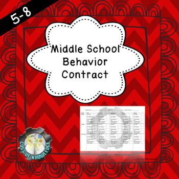 Middle school behavior contract- EDITABLE