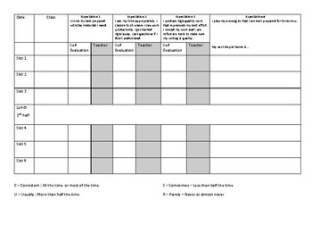 Middle school behaviour tracking sheet
