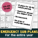 Middle school sub plans: EVERYTHING you need for 10 days of absences