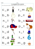 Middle (vowel) Sound Write it- 70 CVC Words Fill in the vo