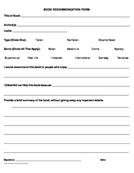 Middle/High School Book Recommendation Form by KAlbert | TpT