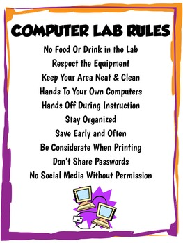 Middle High School Computer Lab Rules Poster