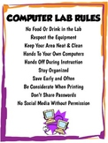 Middle/High School Computer Lab Rules Poster